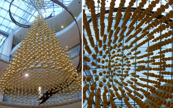italian chocolate company ferrero spa produced a beautiful hanging christmas tree in a mall in birmingham england made out of ferrero rocher chocolates
